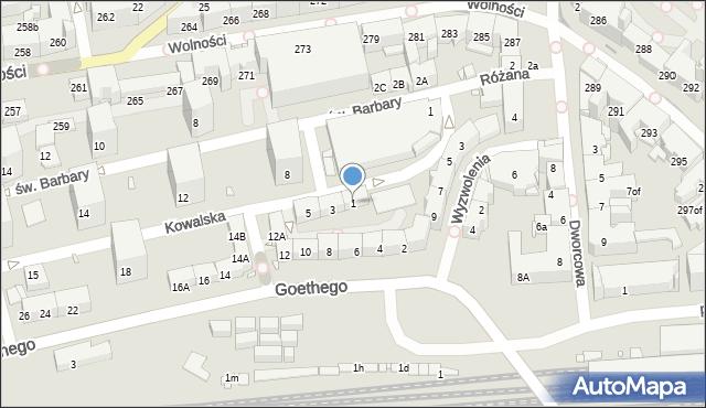 Zabrze, Kowalska, 1, mapa Zabrza