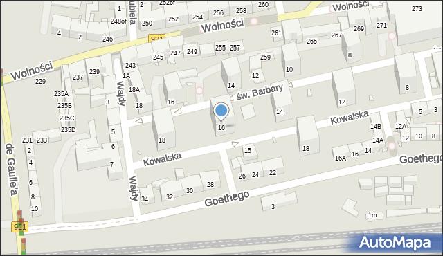 Zabrze, Kowalska, 16, mapa Zabrza