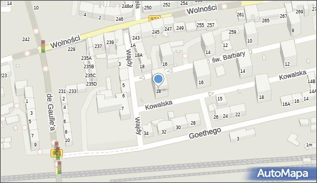 Zabrze, Kowalska, 18, mapa Zabrza
