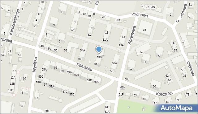Zabrze, Korczoka Antoniego, ks. dr., 56A, mapa Zabrza