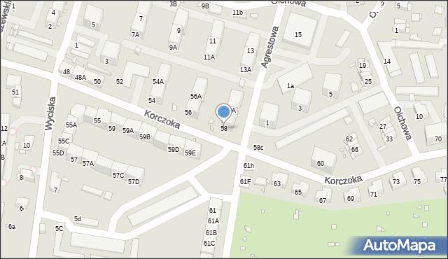 Zabrze, Korczoka Antoniego, ks. dr., 58, mapa Zabrza