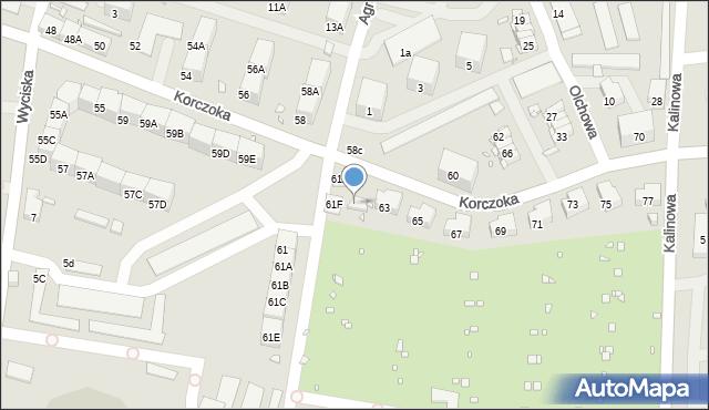 Zabrze, Korczoka Antoniego, ks. dr., 61G, mapa Zabrza