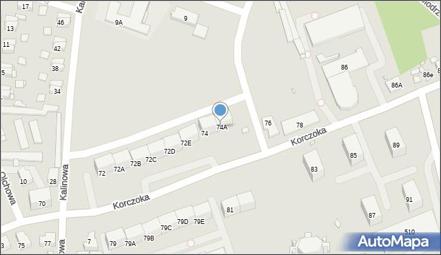 Zabrze, Korczoka Antoniego, ks. dr., 74A, mapa Zabrza