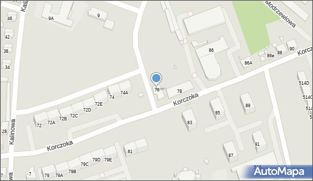 Zabrze, Korczoka Antoniego, ks. dr., 76, mapa Zabrza