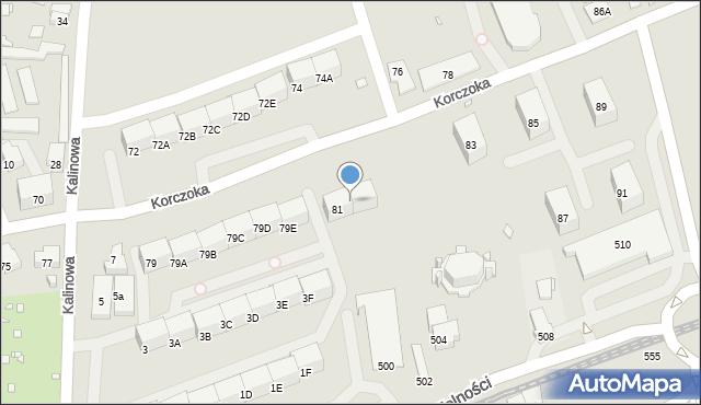 Zabrze, Korczoka Antoniego, ks. dr., 81A, mapa Zabrza