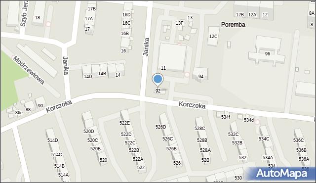 Zabrze, Korczoka Antoniego, ks. dr., 92, mapa Zabrza