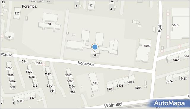 Zabrze, Korczoka Antoniego, ks. dr., 98, mapa Zabrza