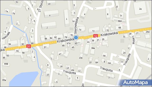 Andrychów, Krakowska, 43, mapa Andrychów