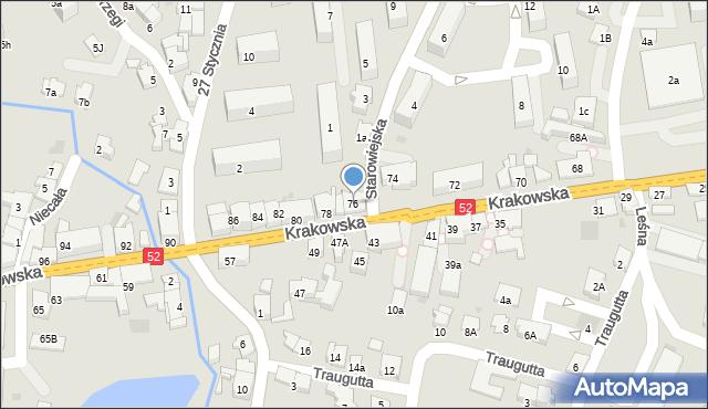 Andrychów, Krakowska, 76, mapa Andrychów