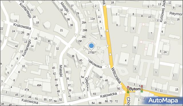 Bytom, Krakowska, 27/31, mapa Bytomia