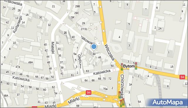Bytom, Krakowska, 44, mapa Bytomia