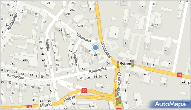 Bytom, Krakowska, 46, mapa Bytomia