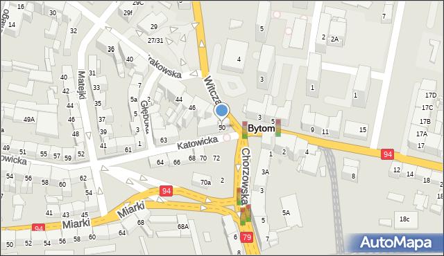 Bytom, Krakowska, 50, mapa Bytomia