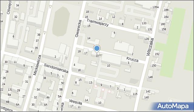Bytom, Krucza, 13, mapa Bytomia