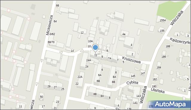 Bytom, Kruszcowa, 11, mapa Bytomia