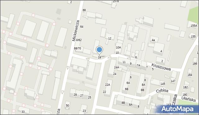 Bytom, Kruszcowa, 14, mapa Bytomia