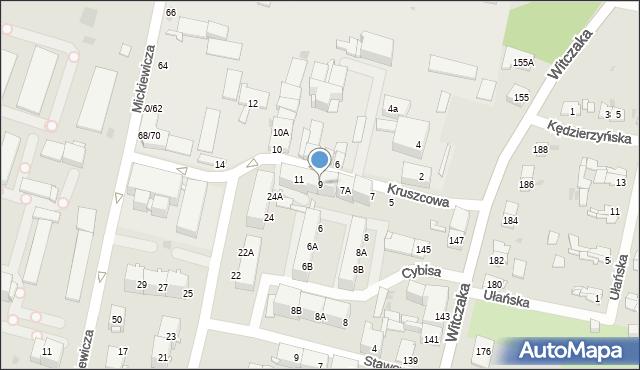Bytom, Kruszcowa, 9, mapa Bytomia