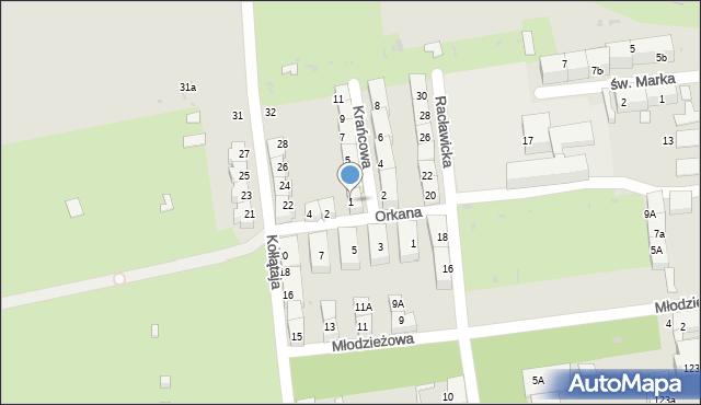 Bytom, Krańcowa, 1, mapa Bytomia