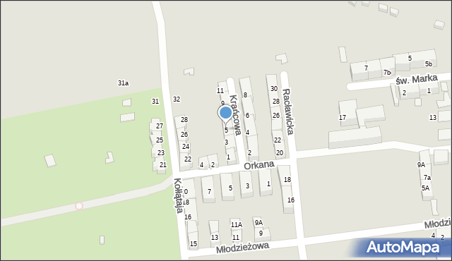 Bytom, Krańcowa, 5, mapa Bytomia