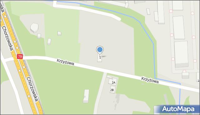 Bytom, Krzyżowa, 1, mapa Bytomia