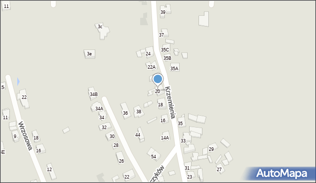 Bytom, Krzemienia, 20, mapa Bytomia