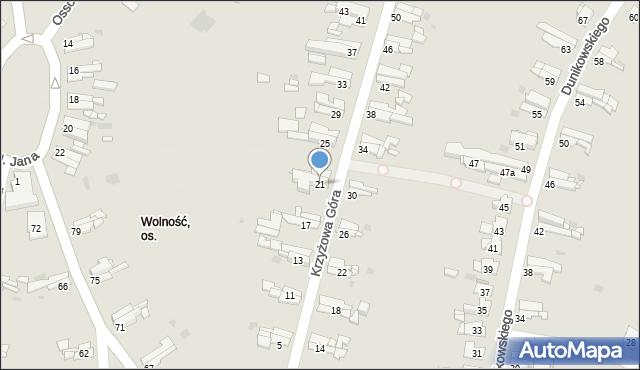 Bytom, Krzyżowa Góra, 21, mapa Bytomia