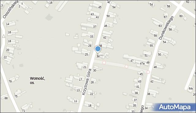 Bytom, Krzyżowa Góra, 34, mapa Bytomia
