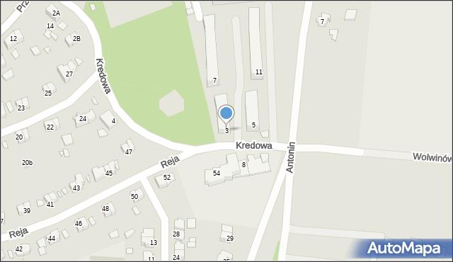 Chełm, Kredowa, 3, mapa Chełma