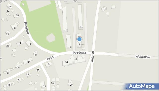 Chełm, Kredowa, 5, mapa Chełma
