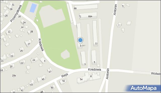 Chełm, Kredowa, 7, mapa Chełma