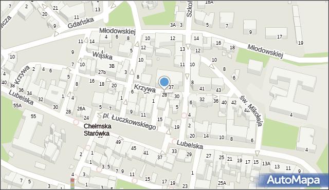 Chełm, Krzywa, 28, mapa Chełma