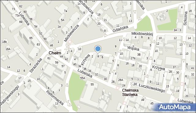 Chełm, Krzywa, 4, mapa Chełma