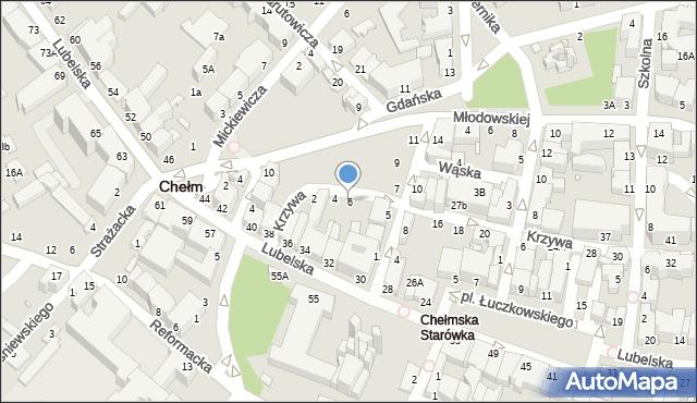 Chełm, Krzywa, 6, mapa Chełma