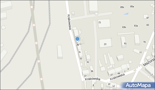 Chorzów, Krakowska, 29, mapa Chorzów