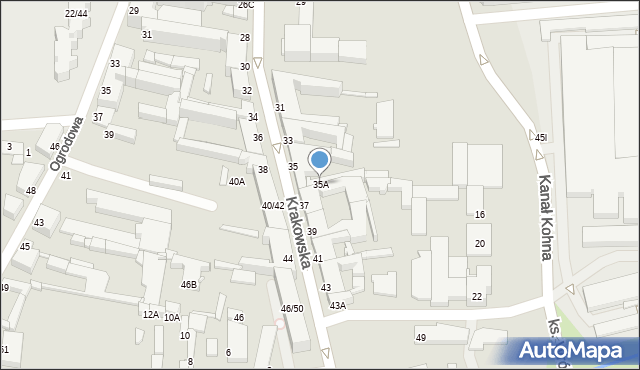 Częstochowa, Krakowska, 35A, mapa Częstochowy