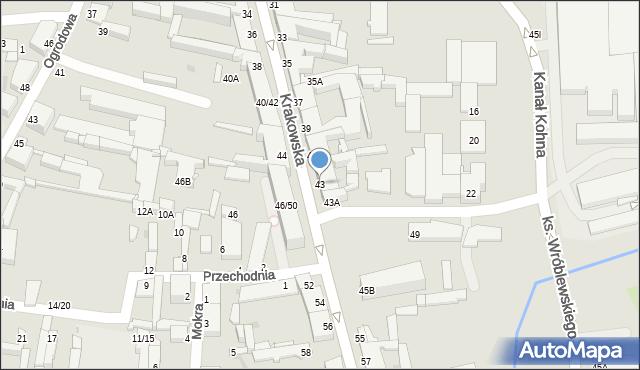 Częstochowa, Krakowska, 43, mapa Częstochowy