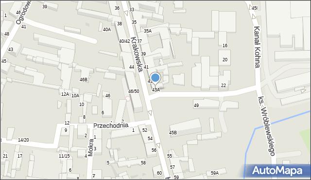 Częstochowa, Krakowska, 43A, mapa Częstochowy