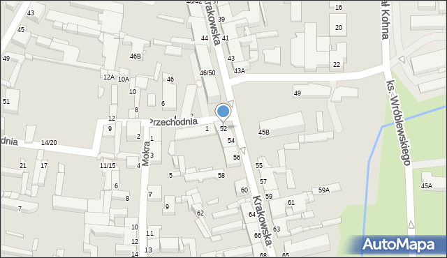Częstochowa, Krakowska, 52, mapa Częstochowy