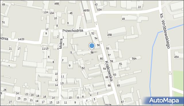 Częstochowa, Krakowska, 58, mapa Częstochowy