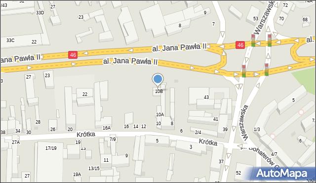Częstochowa, Krótka, 10B, mapa Częstochowy