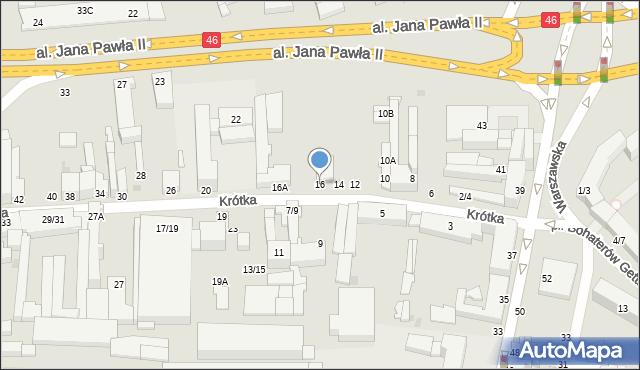 Częstochowa, Krótka, 16, mapa Częstochowy