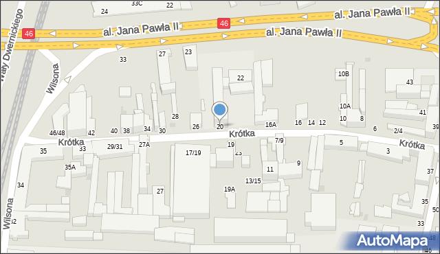 Częstochowa, Krótka, 20, mapa Częstochowy