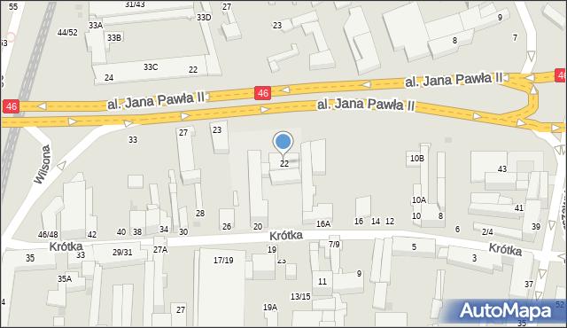 Częstochowa, Krótka, 22, mapa Częstochowy