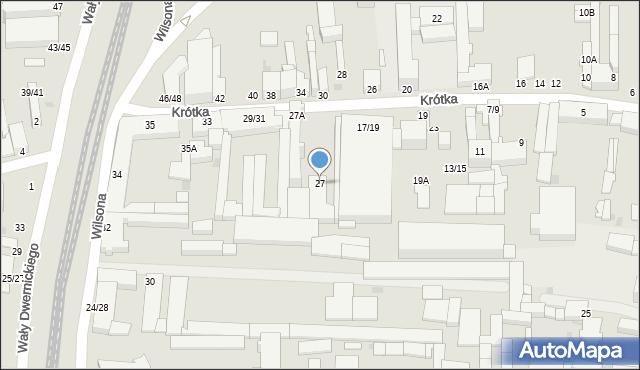 Częstochowa, Krótka, 27, mapa Częstochowy