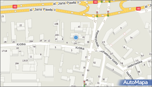 Częstochowa, Krótka, 4, mapa Częstochowy