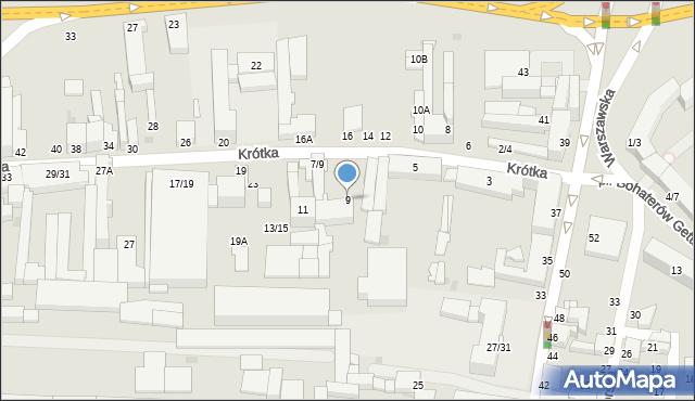 Częstochowa, Krótka, 9, mapa Częstochowy