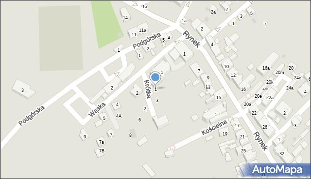 Dobczyce, Krótka, 1, mapa Dobczyce