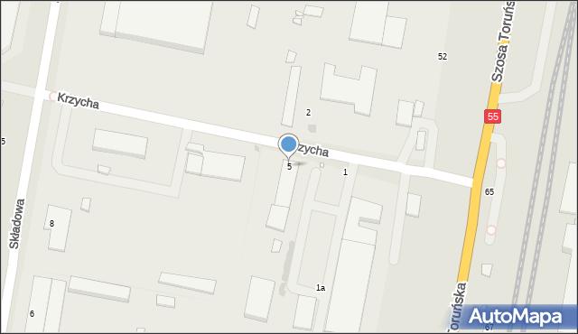 Grudziądz, Krzycha, por., 5, mapa Grudziądza