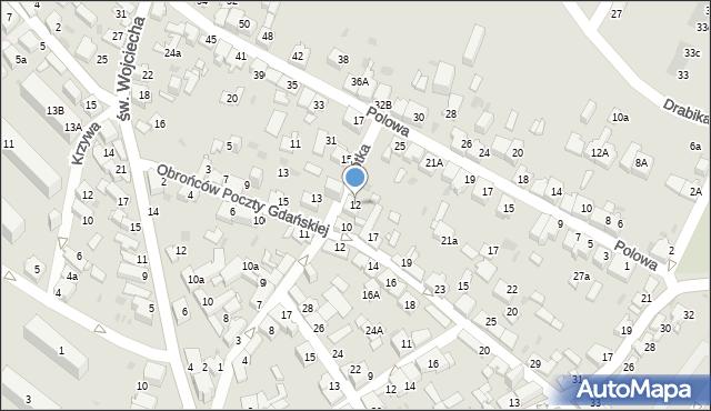 Jaworzno, Krótka, 12, mapa Jaworzno