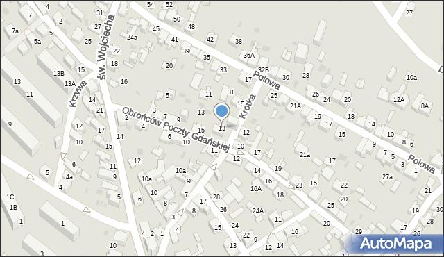 Jaworzno, Krótka, 13, mapa Jaworzno
